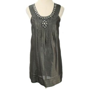 🍍Banana USA Brown Metallic Embellish Shift Dress